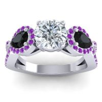 Three Stone Pave Varsa Diamond Ring with Black Onyx and Amethyst in 18k White Gold