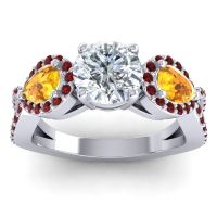 Three Stone Pave Varsa Diamond Ring with Citrine and Garnet in Palladium