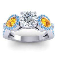 Three Stone Pave Varsa Diamond Ring with Citrine and Swiss Blue Topaz in Palladium