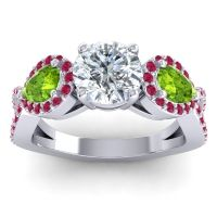 Three Stone Pave Varsa Diamond Ring with Peridot and Ruby in Palladium