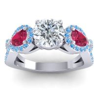 Three Stone Pave Varsa Diamond Ring with Ruby and Swiss Blue Topaz in Platinum