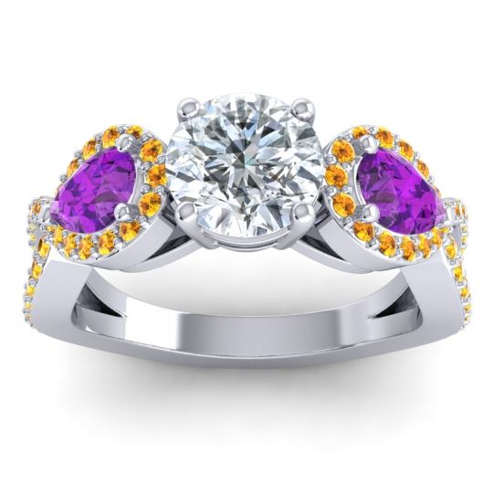 Three Stone Pave Varsa Diamond Ring with Amethyst and Citrine in Platinum