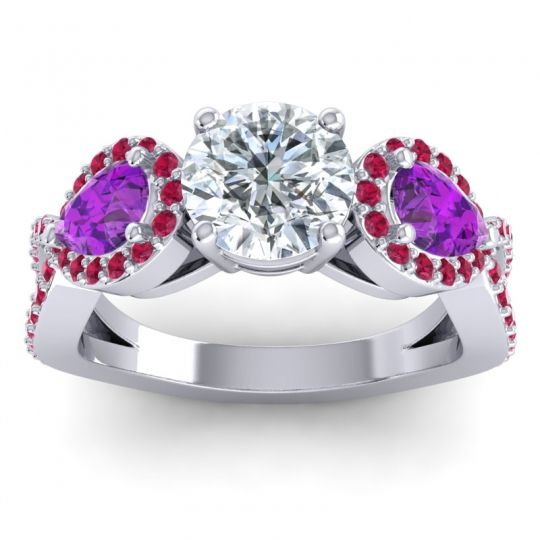 Three Stone Pave Varsa Diamond Ring with Amethyst and Ruby in 14k White Gold