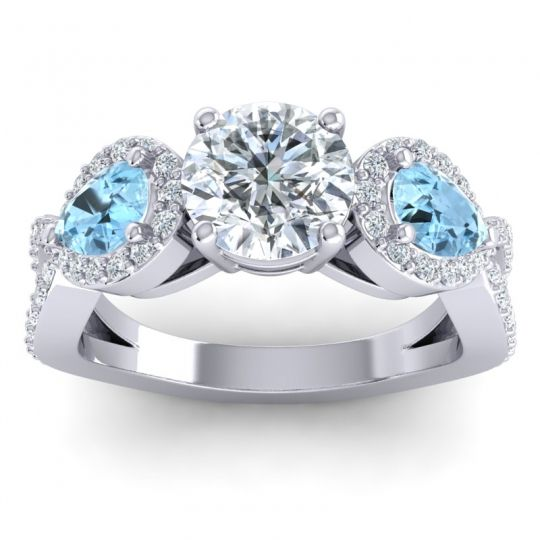 Three Stone Pave Varsa Diamond Ring with Aquamarine in Platinum