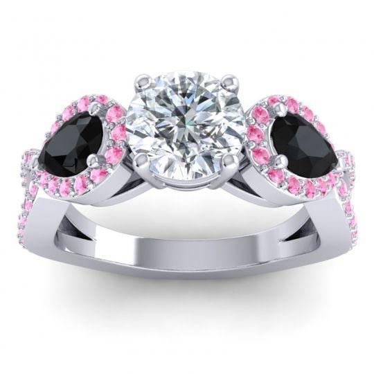 Three Stone Pave Varsa Diamond Ring with Black Onyx and Pink Tourmaline in 14k White Gold