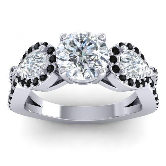 Three Stone Pave Varsa Diamond Ring with Black Onyx in 18k White Gold