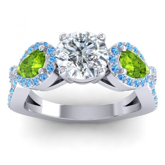 Three Stone Pave Varsa Diamond Ring with Peridot and Swiss Blue Topaz in 14k White Gold