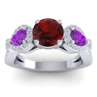 Three Stone Pave Varsa Garnet Ring with Amethyst and Diamond in 14k White Gold
