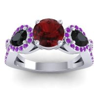 Three Stone Pave Varsa Garnet Ring with Black Onyx and Amethyst in 18k White Gold