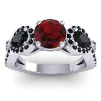 Garnet Three Stone Pave Varsa Ring with Black Onyx in Platinum
