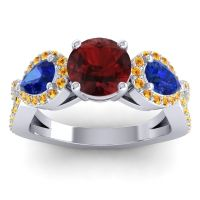 Three Stone Pave Varsa Garnet Ring with Blue Sapphire and Citrine in 14k White Gold