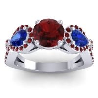 Garnet Three Stone Pave Varsa Ring with Blue Sapphire in 18k White Gold