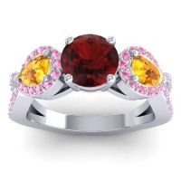Three Stone Pave Varsa Garnet Ring with Citrine and Pink Tourmaline in 18k White Gold