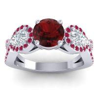 Three Stone Pave Varsa Garnet Ring with Diamond and Ruby in Platinum