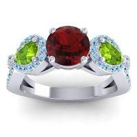 Garnet Three Stone Pave Varsa Ring with Peridot and Aquamarine in Platinum