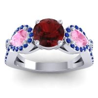 Three Stone Pave Varsa Garnet Ring with Pink Tourmaline and Blue Sapphire in 14k White Gold