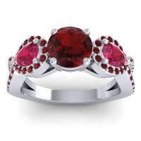 Three Stone Pave Varsa Garnet Ring with Ruby in Platinum