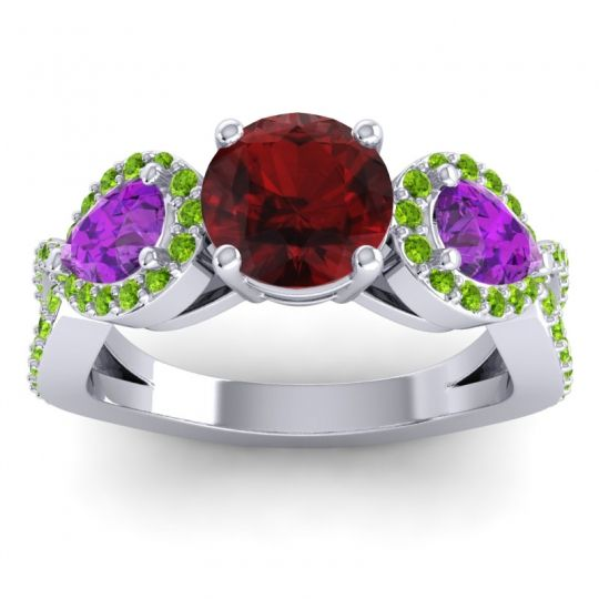 Three Stone Pave Varsa Garnet Ring with Amethyst and Peridot in 18k White Gold