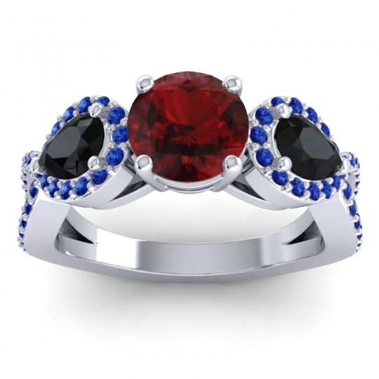 Three Stone Pave Varsa Garnet Ring with Black Onyx and Blue Sapphire in Palladium