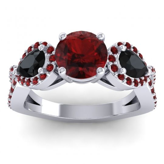 Garnet Three Stone Pave Varsa Ring with Black Onyx in 18k White Gold