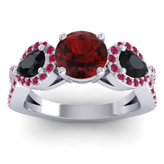 Garnet Three Stone Pave Varsa Ring with Black Onyx and Ruby in Platinum