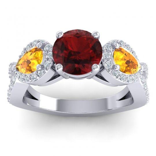 Three Stone Pave Varsa Garnet Ring with Citrine and Diamond in Platinum
