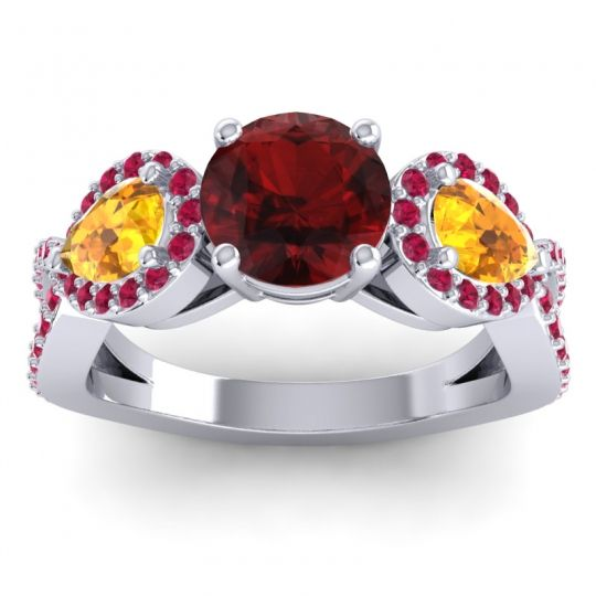 Garnet Three Stone Pave Varsa Ring with Citrine and Ruby in 14k White Gold
