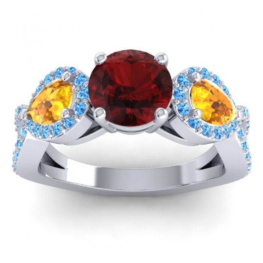 Garnet Three Stone Pave Varsa Ring with Citrine and Swiss Blue Topaz in 18k White Gold