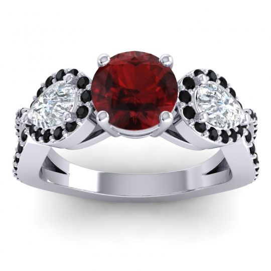 Garnet Three Stone Pave Varsa Ring with Diamond and Black Onyx in 18k White Gold