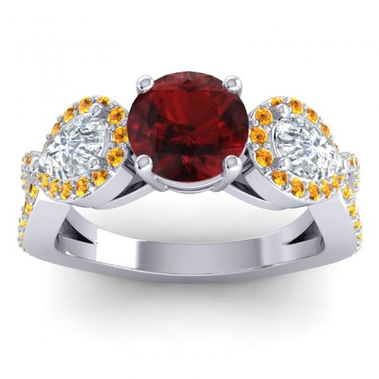 Garnet Three Stone Pave Varsa Ring with Diamond and Citrine in Platinum