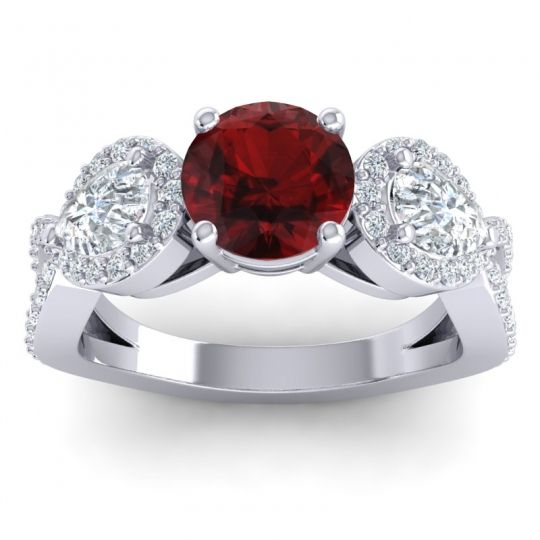 Garnet Three Stone Pave Varsa Ring with Diamond in 14k White Gold
