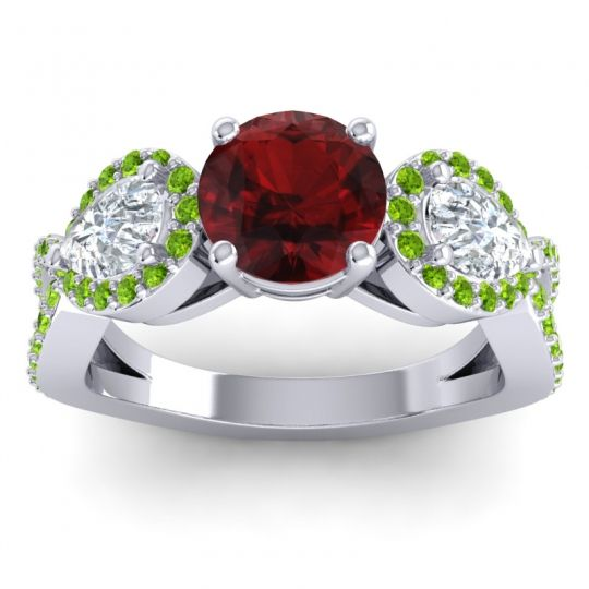 Garnet Three Stone Pave Varsa Ring with Diamond and Peridot in 18k White Gold