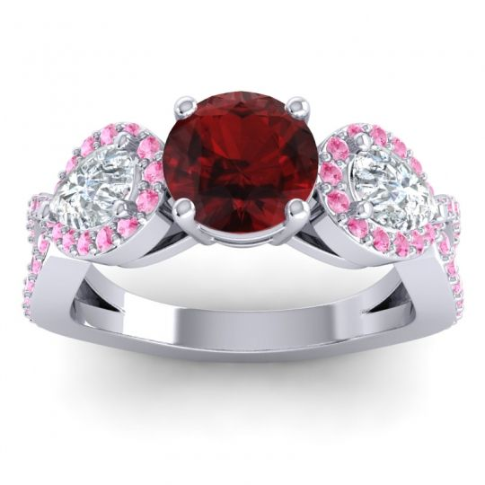 Garnet Three Stone Pave Varsa Ring with Diamond and Pink Tourmaline in Platinum