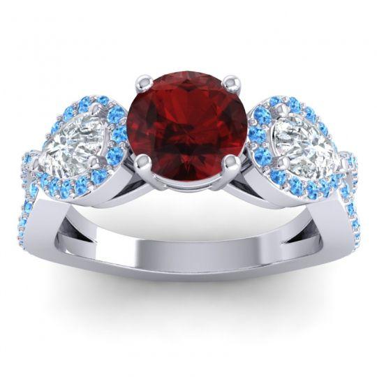 Garnet Three Stone Pave Varsa Ring with Diamond and Swiss Blue Topaz in Platinum