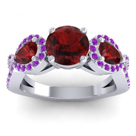 Garnet Three Stone Pave Varsa Ring with Amethyst in Platinum