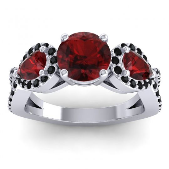 Garnet Three Stone Pave Varsa Ring with Black Onyx in Platinum