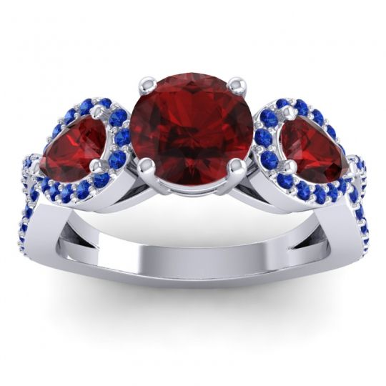 Garnet Three Stone Pave Varsa Ring with Blue Sapphire in 14k White Gold