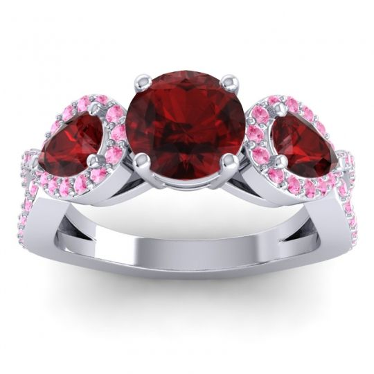 Three Stone Pave Varsa Garnet Ring with Pink Tourmaline in Palladium