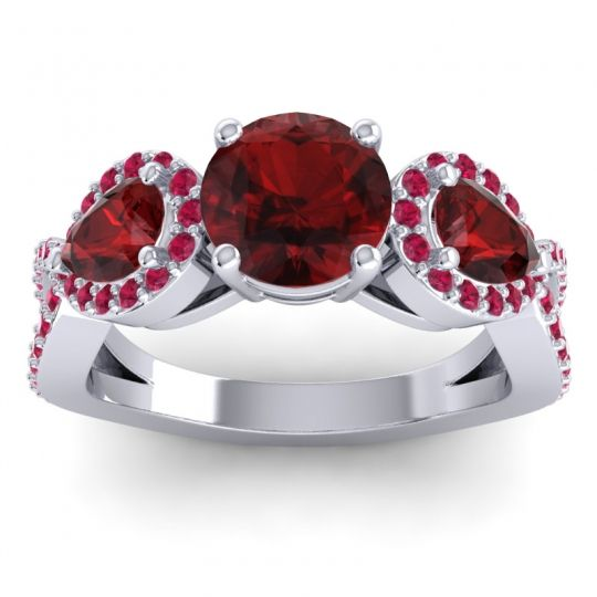 Garnet Three Stone Pave Varsa Ring with Ruby in Palladium