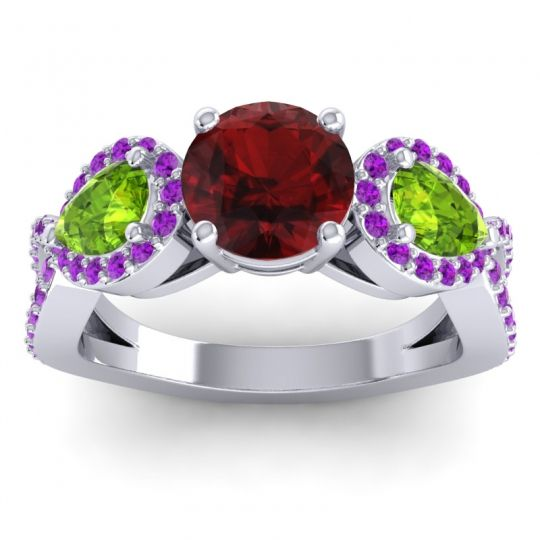 Garnet Three Stone Pave Varsa Ring with Peridot and Amethyst in 14k White Gold