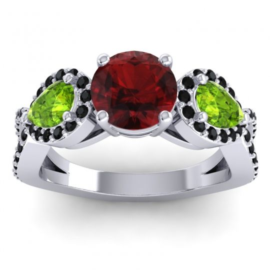 Garnet Three Stone Pave Varsa Ring with Peridot and Black Onyx in Platinum