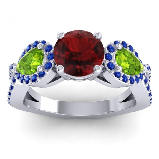 Garnet Three Stone Pave Varsa Ring with Peridot and Blue Sapphire in 14k White Gold