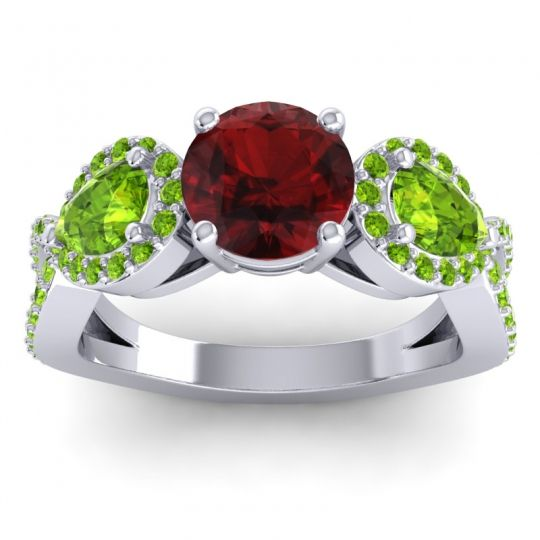 Garnet Three Stone Pave Varsa Ring with Peridot in 18k White Gold
