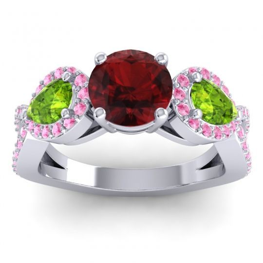Garnet Three Stone Pave Varsa Ring with Peridot and Pink Tourmaline in 18k White Gold
