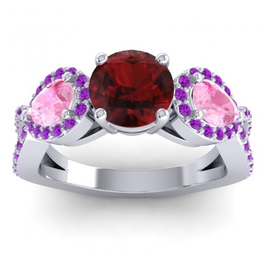 Garnet Three Stone Pave Varsa Ring with Pink Tourmaline and Amethyst in 18k White Gold