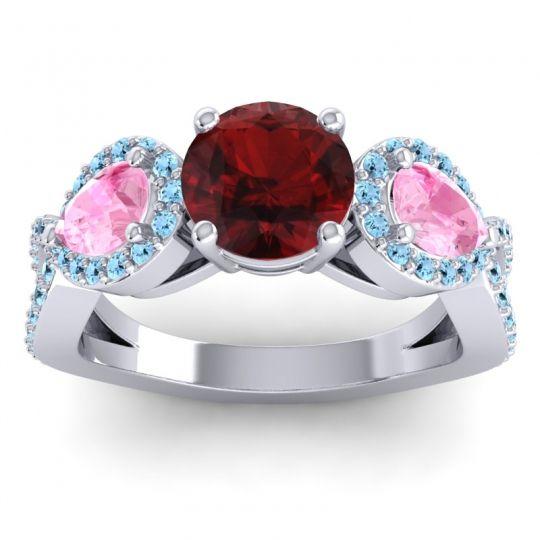 Garnet Three Stone Pave Varsa Ring with Pink Tourmaline and Aquamarine in Palladium