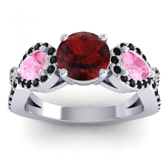 Garnet Three Stone Pave Varsa Ring with Pink Tourmaline and Black Onyx in 14k White Gold