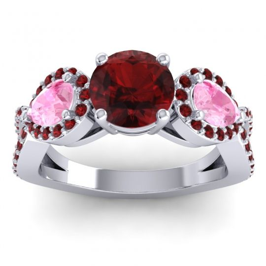 Garnet Three Stone Pave Varsa Ring with Pink Tourmaline in 18k White Gold
