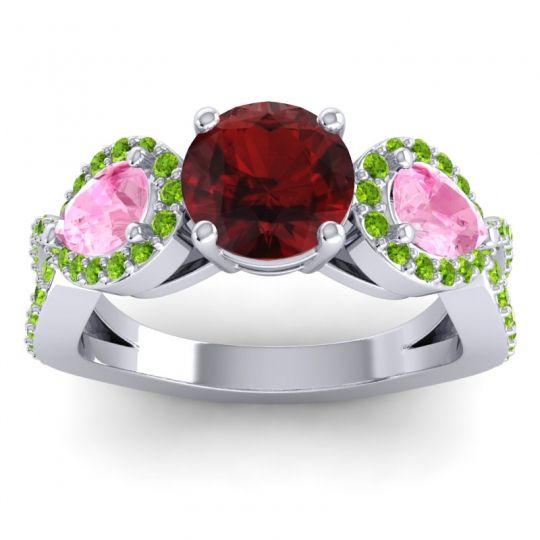 Garnet Three Stone Pave Varsa Ring with Pink Tourmaline and Peridot in 18k White Gold