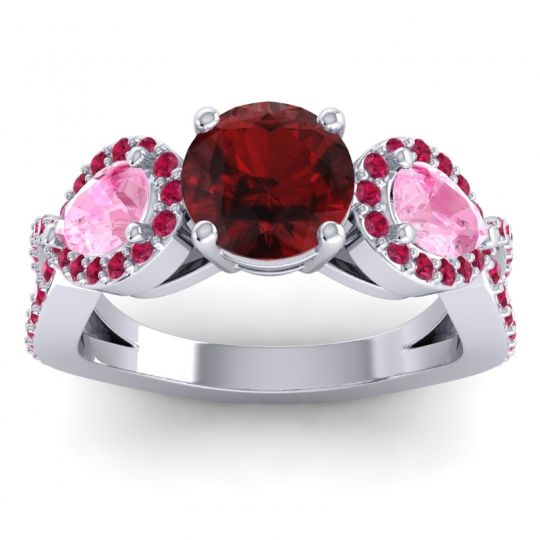 Garnet Three Stone Pave Varsa Ring with Pink Tourmaline and Ruby in Palladium